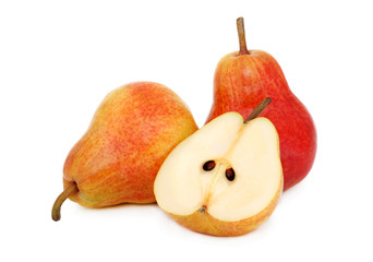 Two whole and a half pears (isolated)