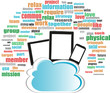 Cloud storage concept in word business collage with tablet pc