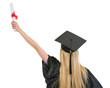 Woman in graduation gown with diploma rejoicing success