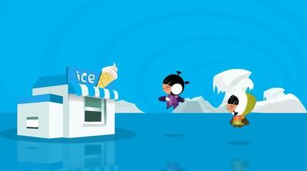 cute Eskimo boy and gilr wollen Eis