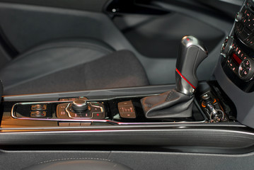 Automatic gear shift handle and car interior details