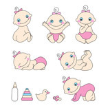 Set of baby girls. Vector illustration