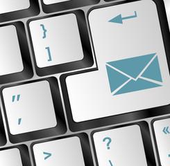 Mail keyboard button on blue keyboard