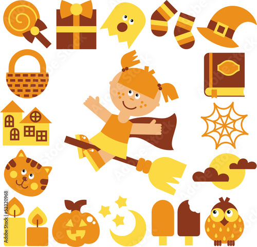 halloween set – vector illustration
