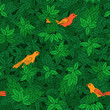 Foliate pattern with birds.