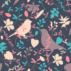 Floral seamless with birds
