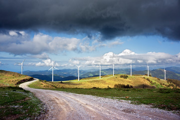 windmill farm in mountain