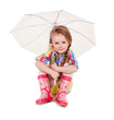 The little girl with an umbrella and in rubber boots. Isolated