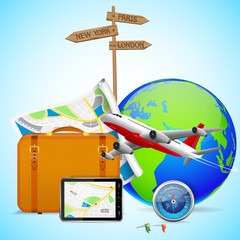 vector illustration of luggage and flying airplane around globe