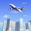 vector illustration of airplane flying over skyscrape building