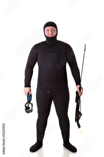 Underwater hunter man on a white background