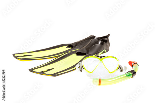 Diving mask, snorkel and flippers