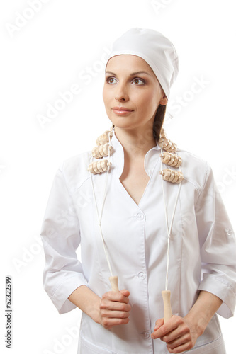 Doctor with wooden massage tool , isolated on white background