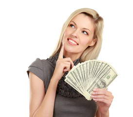 A young woman with dollars in her hands