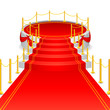 vector illustration of circular stage with red carpet