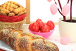 Easter sweet bread with red eggs and shortbread cookies
