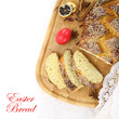 Easter sweet bread with red egg