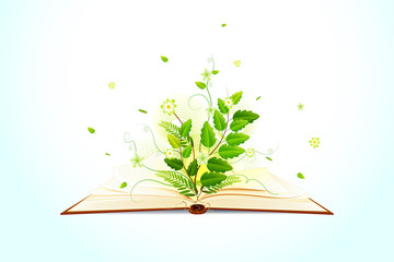 vector illustration of plant growing on open book