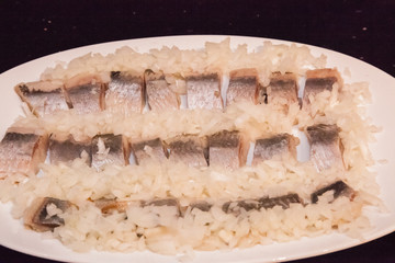 Pickled herring in cream sauce