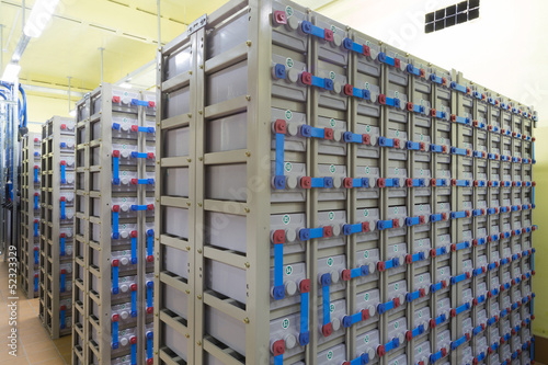 Industrial backup power system consisting of batteries.