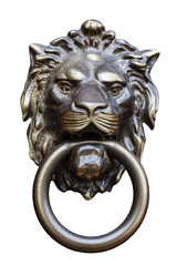 old style lion's head knocker isolated on white
