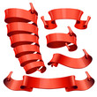 red Glossy vector ribbons set