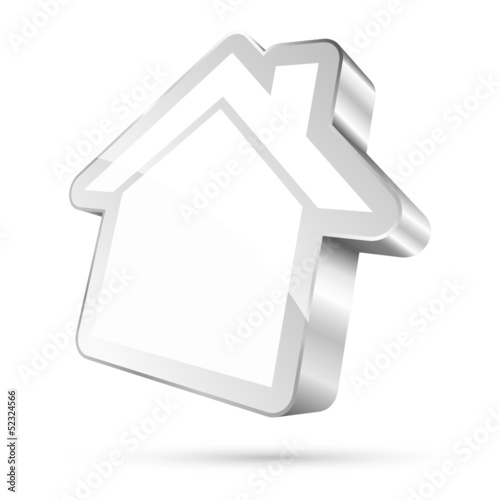 House Icon 3D Silver