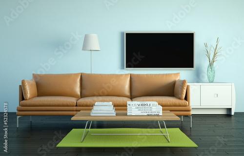 Wohndesign - braunes Ledersofa vor Fernsehwand