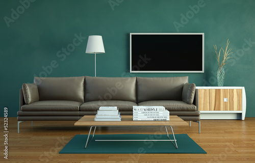 Wohndesign - Ledersofa vor Fernsehwand