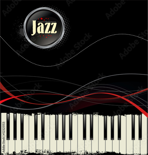 Grunge black and white piano keys with red lines