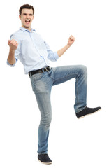 Man clenching fists