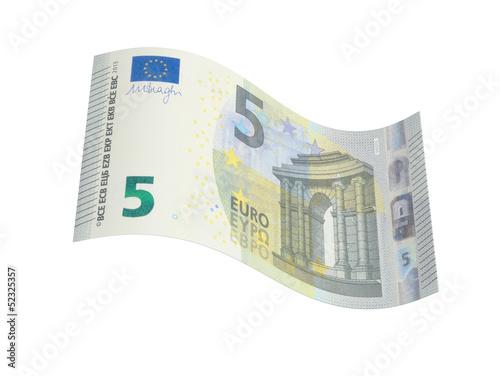 Leinwanddruck Bild neuer 5 Euro Geldschein