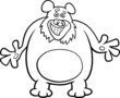 bear cartoon illustration for coloring book