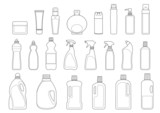 detergents and toiletries bottles icon set