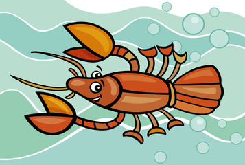 happy crayfish cartoon illustration