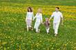 glückliche familie geht hand in hand