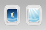 airplane windows night and day