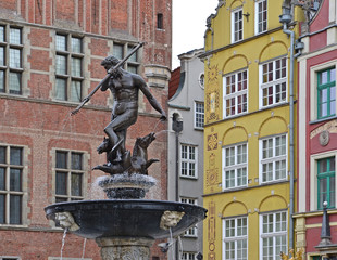 The Neptune fountain in Gdansk, Poland