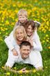 lachende familie auf einer blumenwiese