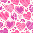 Rose romantic ornamental pattern with hearts