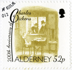 ALDERNEY - 2012: shows illustrations from Oliver Twist