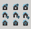 set of house protected icons