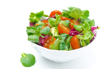 bowl of fresh salad and cherry tomatoes isolated