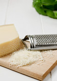 Grated parmesan cheese. Selective focus