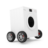 Washing Machine on Wheels isolated on white background
