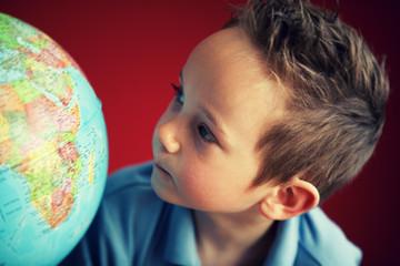 school boy globe