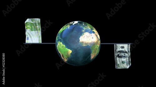 Dollar and Euro Flag Waving with Earth Rotating, Loop, Alpha