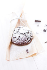 Fresh chocolate cookie on the wooden background