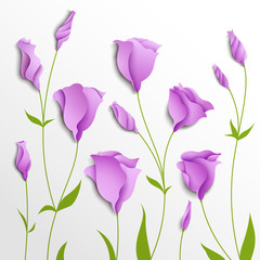 Flower vector background. Lilac eustoma © megapixelina