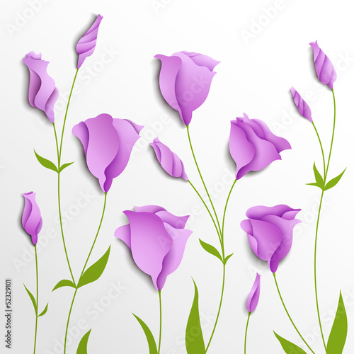 Flower vector background. Lilac eustoma